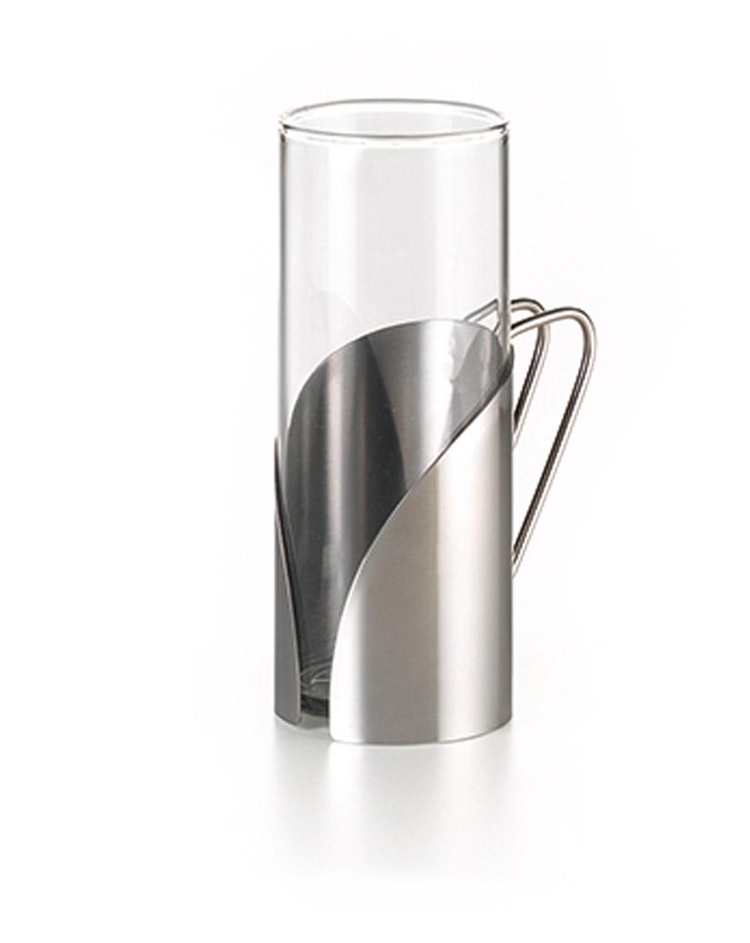 STELLA Designglas mit Edelstahlhalter für kaffe...
