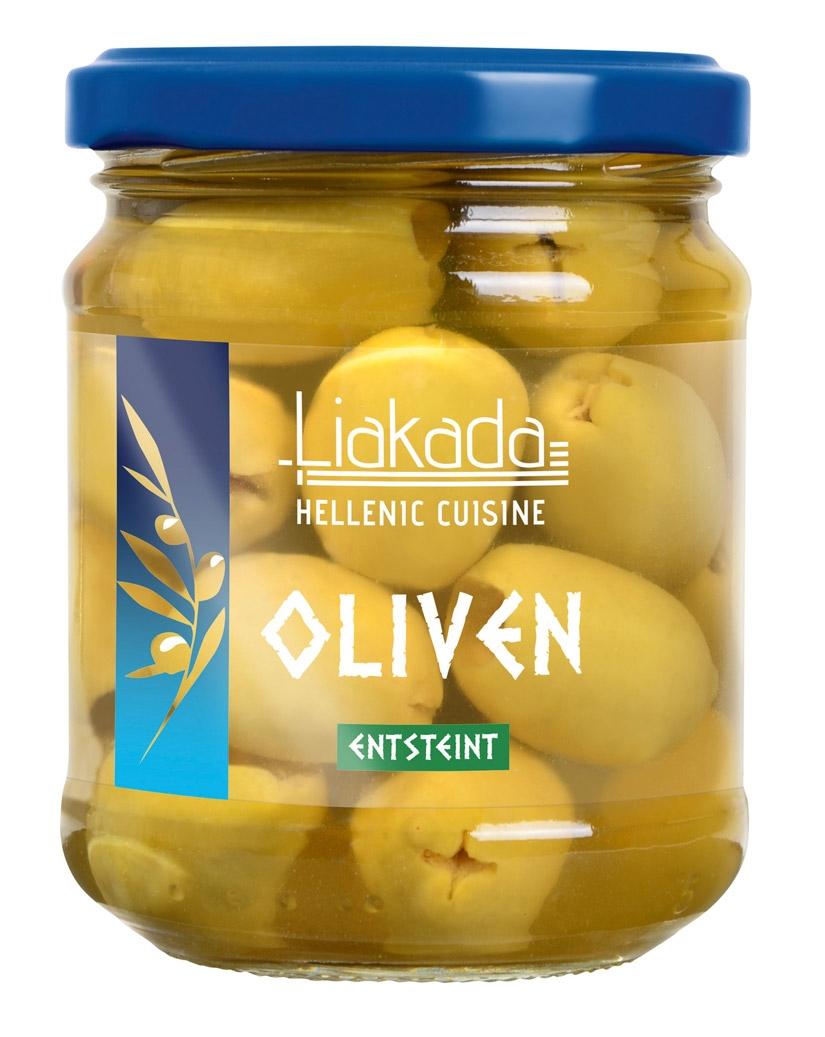 Liakada grüne Oliven entsteint im Glas, 212 ml