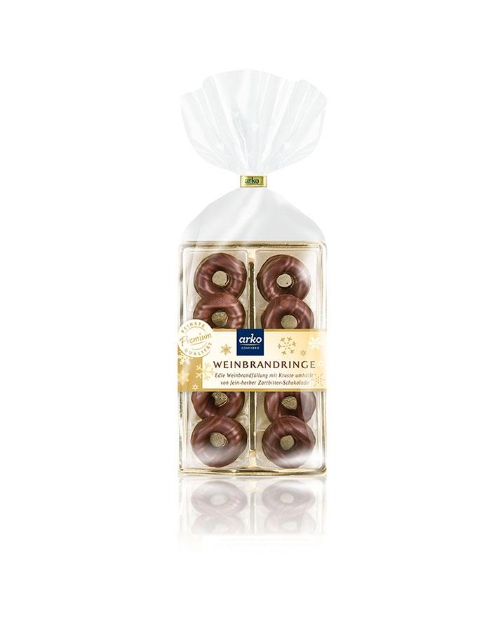 Schokoladige Weinbrand-Ringe von arko, 100 g