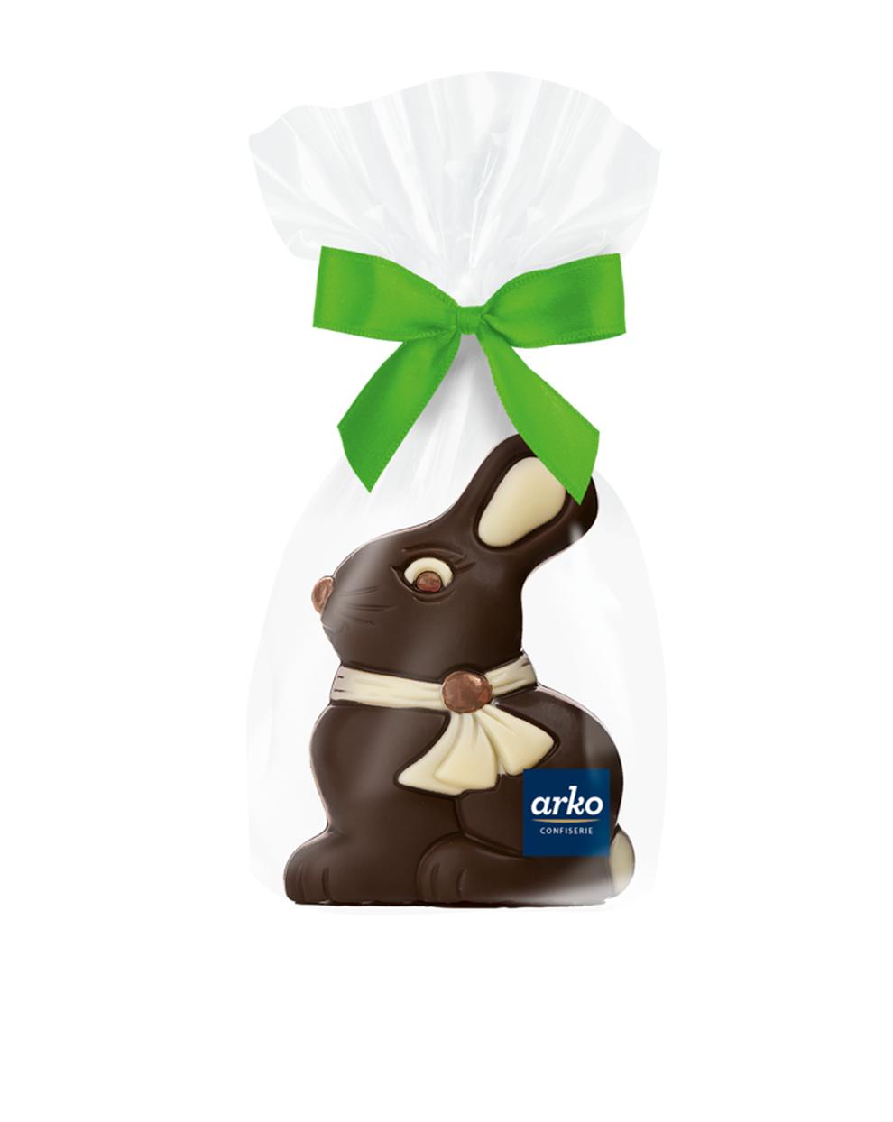 Hase mit Schleife aus Zartbitter Schokolade von arko