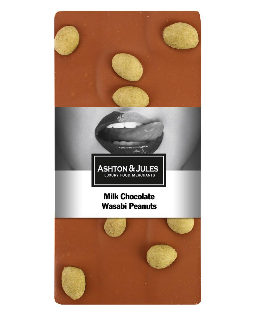 Schokolade Vollmilch mit Wasabi Erdnüssen von Ashton & Jules 100 g - broschei
