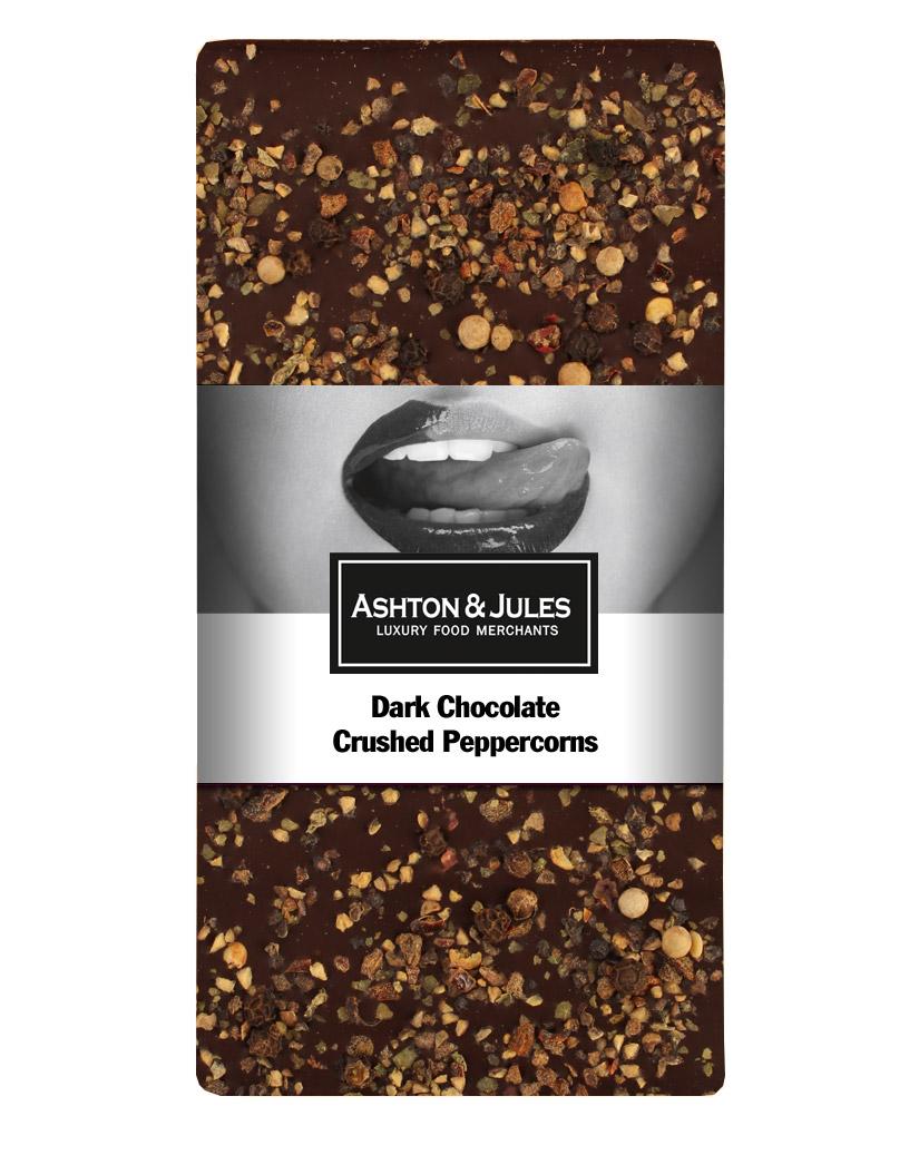 Schokolade Zartbitter mit buntem Pfeffer von Ashton & Jules 100 g - broschei