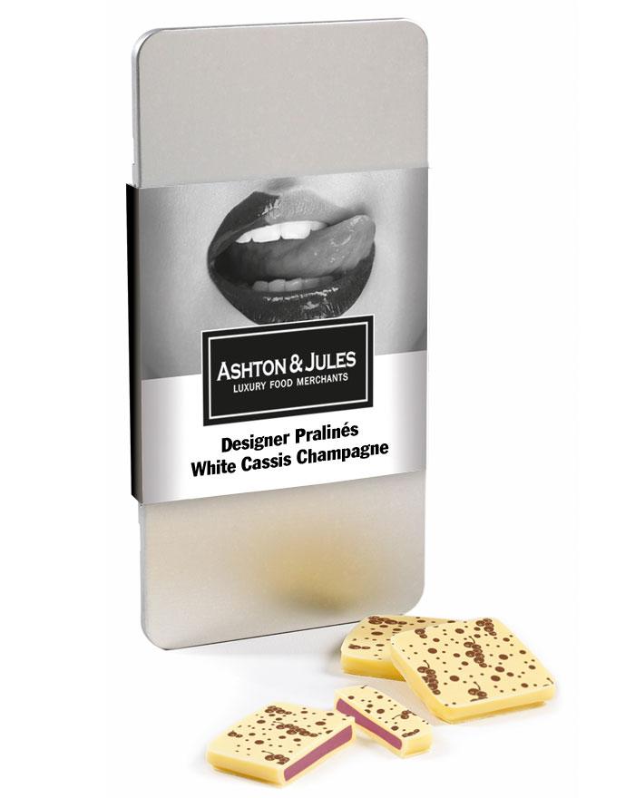 Designer Pralinés White Cassis Champagne von Ashton & Jules 63 g