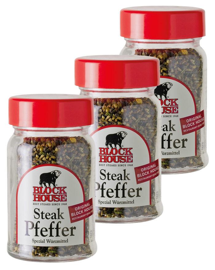 Block House Steak Pfeffer Sparset mit 3 x 50 g