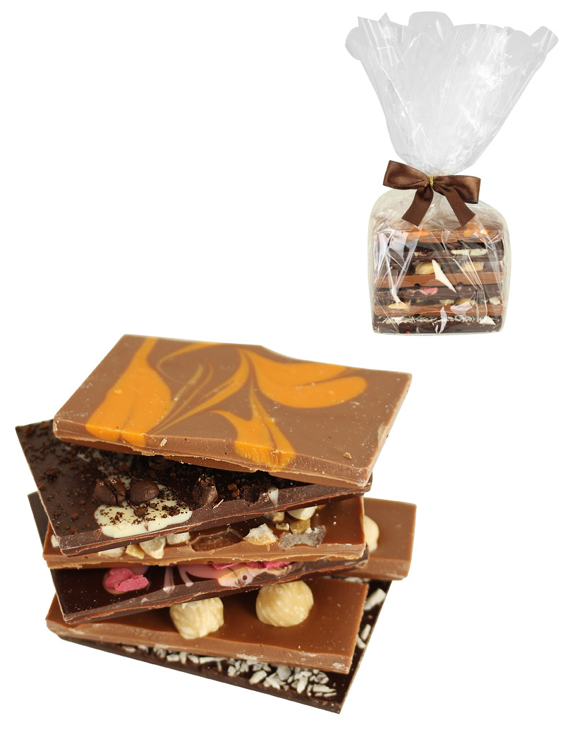 6er Luxus Schokoturm Orangenstrudel Kokos Cashew Lieblingsschokolade Nuss und Espresso, 200g