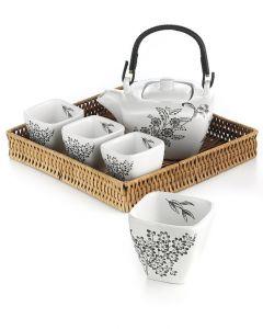 LANAMOUR Teegeschirr mit vier Tassen, schönem Tablett und Kanne