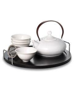 AKUNO Designer Teegeschirr mit zwei Tassen, Tablett und Kanne aus Porzellan