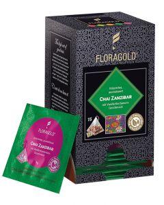 Rooibostee Chai Zanzibar Pyramidenbeutel von Floragold, 15er Pack