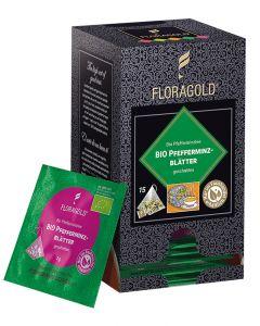 Bio Pfefferminzblätter geschnitten Pyramidenbeutel von Floragold, 15er Pack