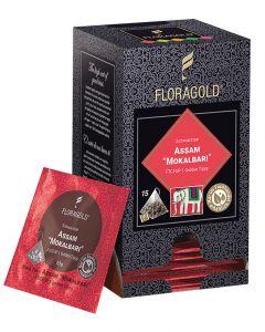 Schwarztee Assam FTGFOP 1 Mokalbari Golden Tippy Pyramidenbeutel von Floragold, 15er Pack