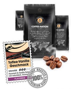 Aroma-Kaffee Toffee Vanilla Kaffeebohnen von Coffee-Nation 500 g