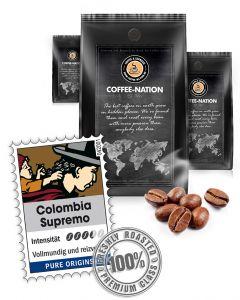 Colombia Supremo Luxus Kaffeebohnen von Coffee-Nation 500 g