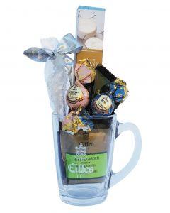 Geschenkset Confisserie mit Deluxe Tee, Weihnachtskugeln, edle Schokolade im Designerglas von EILLES