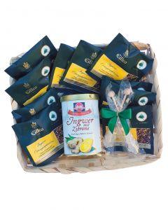 Wellnessset , Tea Diamonds und Schwartau Ingwer mit Zitrone Fruchtaufstrich .
