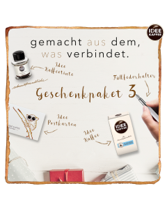 IDEE Geschenkset mit IDEE Kaffeetinte, limitierten Sammel-Postkarten, IDEE KAFFEE und einem edlen Füller