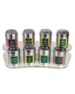 EILLES Tee Display mit 8 Kristalldosen