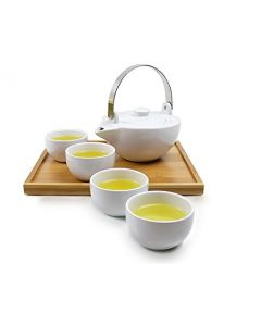 KUBU Tee Set 0,5 L mit 4 Tassen und Tablett