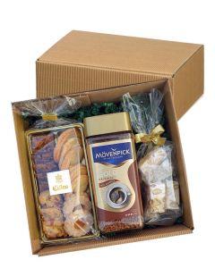Mövenpick Gold Geschenkbox mit Instant Kaffee, Gebäck und Honig-Mandel Nougat