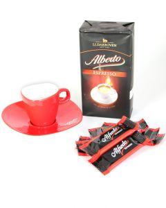 ALFREDO Espresso Set mit Tasse und Caramel Cookies