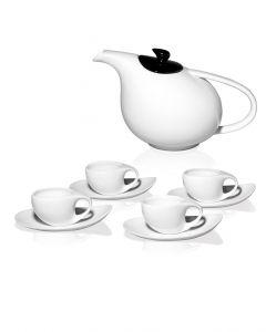 MULETA Teegeschirr mit Kanne 1,75 L und 4 Tassen mit Untertassen 0,2 L aus Porzellan
