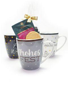 """EILLES TEE Weihnachtstasse """"Frohes Fest"""" mit 8 unterschiedlichen Teesorten und Gebäck"""