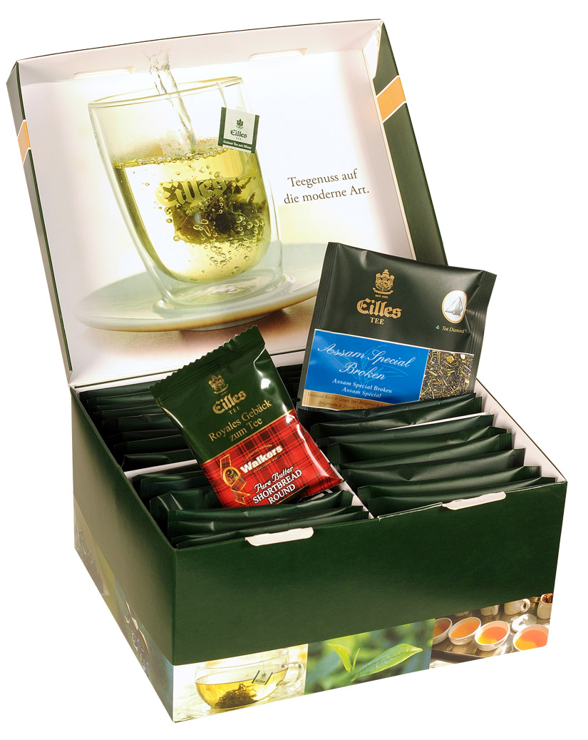 EILLES Tea Diamonds Luxus-Box mit 15 Portionen und Walker Butter Cookie