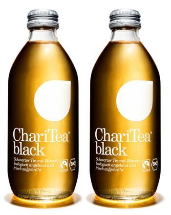 ChariTea Black mit Schwarztee Zitrone 2 x 330 ml