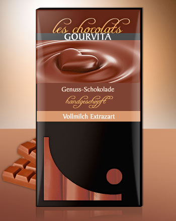 Vollmilch Extrazart Schokolade handgeschöpft Les Chocolats Gourvita 100 g