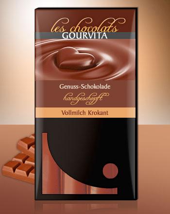 Vollmilch Krokant Schokolade handgeschöpft Les Chocolats Gourvita 100 g