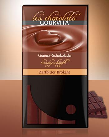 Zartbitter Krokant Schokolade handgeschöpft Les Chocolats Gourvita 100 g