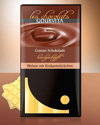Weisse Krokant Schokolade handgeschöpft Les Chocolats Gourvita 100 g