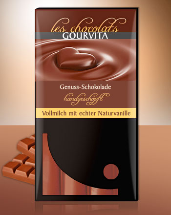 Vollmilch mit Natur-Vanille handgeschöpft Les Chocolats Gourvita 100 g
