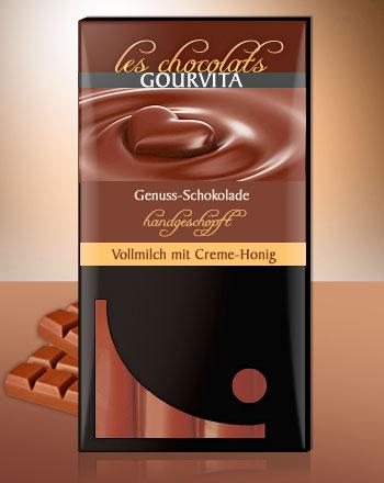 Vollmilch Honig Schokolade handgeschöpft Les Chocolats Gourvita 100 g