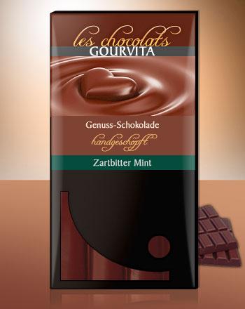 Zartbitter Mint Schokolade handgeschöpft Les Chocolats Gourvita 100 g