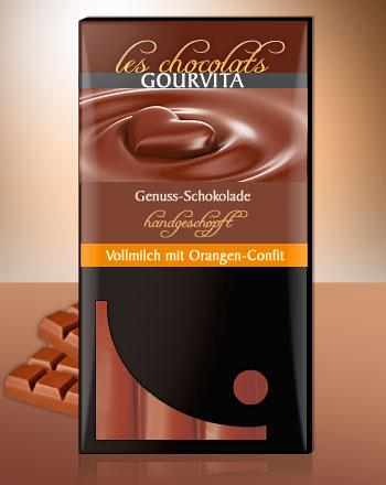 Vollmilch Orangen Schokolade handgeschöpft Les Chocolats Gourvita 100 g