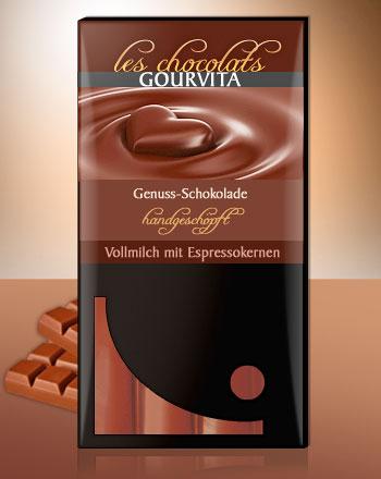 Vollmilch mit Espressokernen Schokolade Les Chocolats Gourvita 100 g