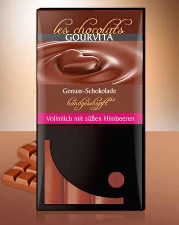 Vollmilch mit süßer Himbeere Schokolade Les Chocolats Gourvita 100 g