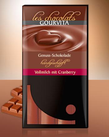 Vollmilch Cranberry Schokolade handgeschöpft Les Chocolats Gourvita 100 g
