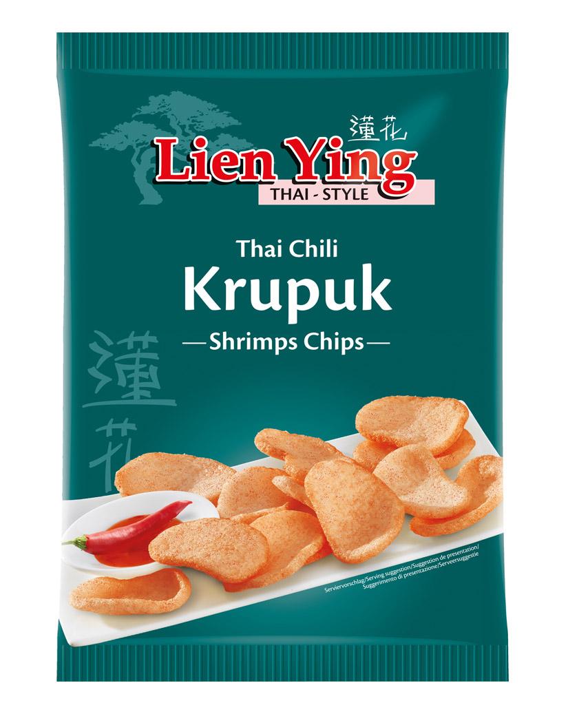 Lien Ying Krupuk Thai-Chili, Garnelen-Chips, 50 g