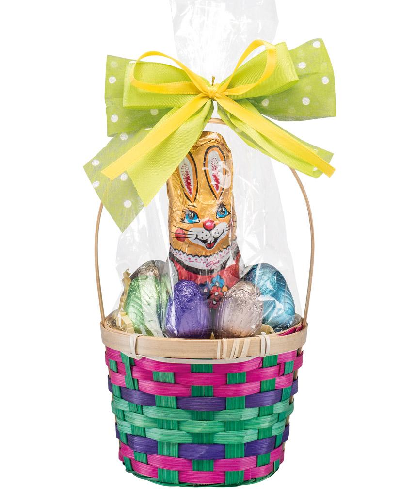 Eilles Ostergeschenk Bambuskörbchen mit Schokoladen Hasen und Pralinen