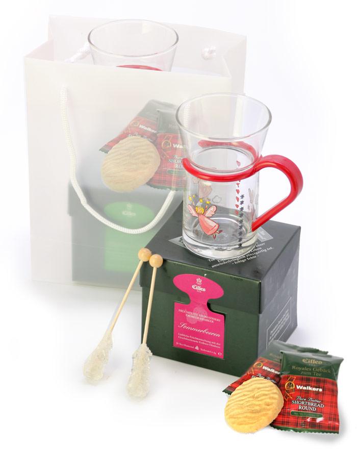 EILLES Geschenkset mit Engel Teeglas und Tea Di...