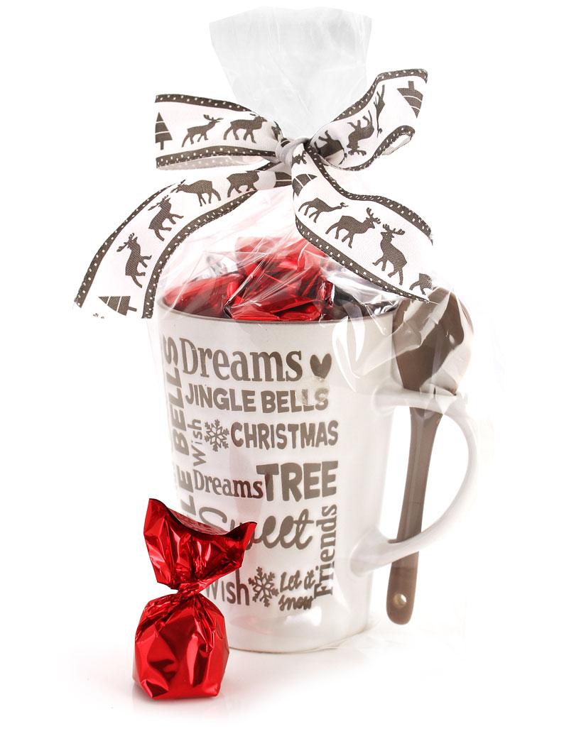 2  zum Preis von 1 - Edle Weihnachtstasse mit zarten Nougat Pralinenbonbons