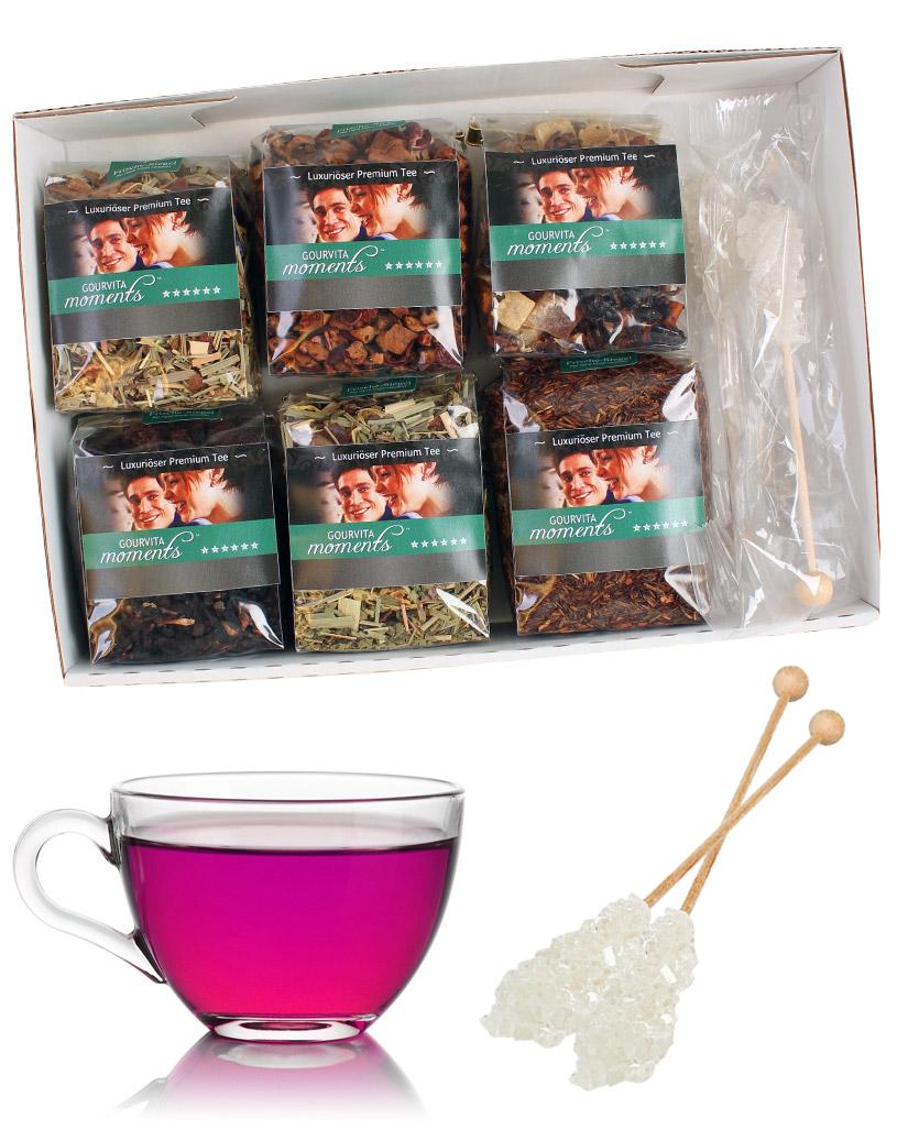 Die Kinder Tees im Probierpaket Gourvita Moments 6 x 50 g und Kandisstangen