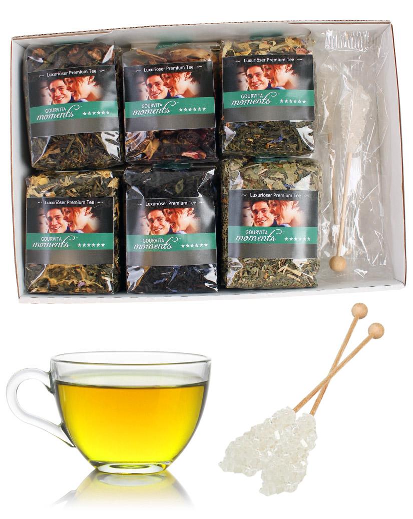 Die edelsten Sommer Tees Gourvita Moments Probierpaket mit 6 x 50 g und Kandisstangen