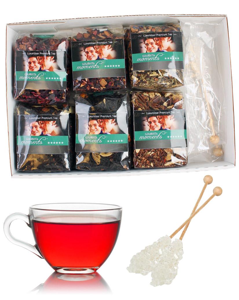 Die feinsten Weihnachts Tees Gourvita Moments Probierpaket mit 6 x 50 g und Kandisstangen