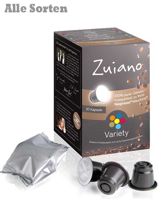 VARIETY Kaffee Kapsel Set mit allen Sorten von Zuiano Coffee 6x 10er Packung