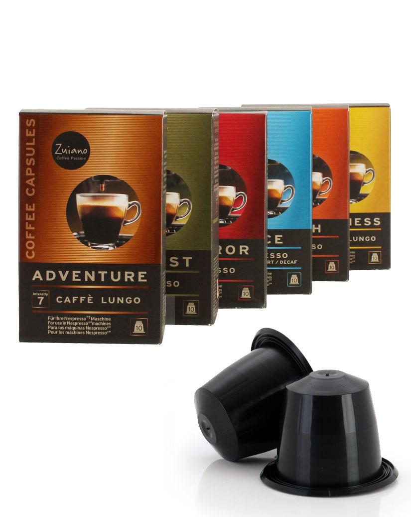 SPAR PACK Variety Kaffeekapsel Set alle Sorten von Zuiano Coffee 6x10 Stück - broschei